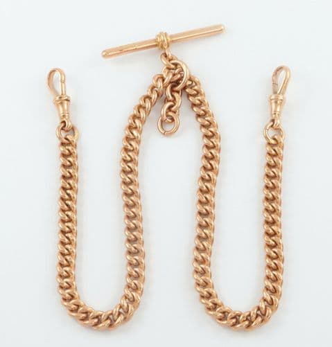 Antique 9Ct Rose Gold Curb Link Double Albert Watch Chain 15 1/2''